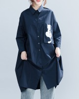 Casual white cat autumn dress long navy-blue loose shirt