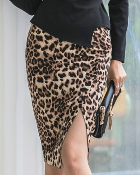 Sexy slim hold abdomen leopard autumn skirt