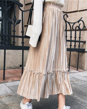 Long pleated slim winter pure skirt for women