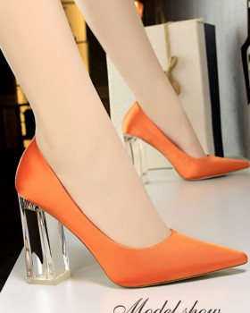 Autumn high-heeled pointed spring thick shoes
