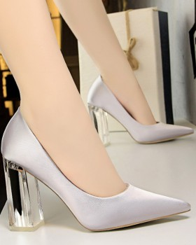 Autumn thick spring high-heeled low pointed shoes for women