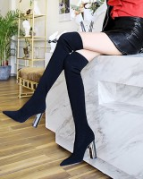 Metal European style woolen yarn nightclub sexy thigh boots