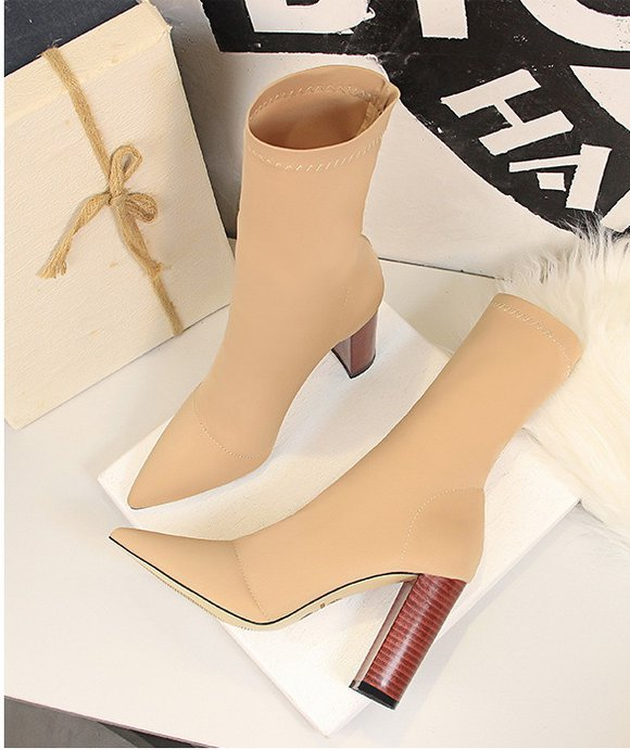 High-heeled pointed simple thick sexy elasticity short boots