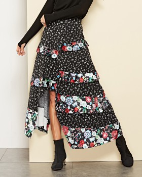 European style printing split lotus leaf edges skirt
