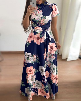 Printing Casual dress short sleeve long dress for women