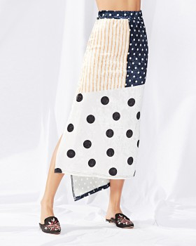 Autumn and winter big dot stripe skirt