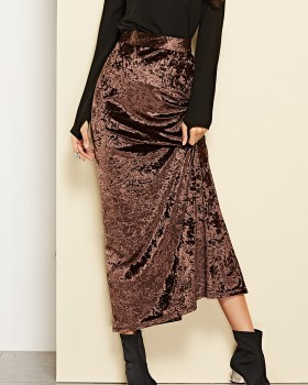 Split high waist autumn long skirt for women