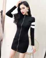 Package hip sexy slim mixed colors zip decoration dress