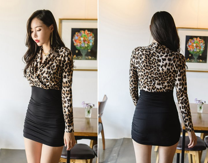 Bottoming leopard long winter slim package hip dress