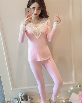 Lace pajamas thin warmth underware 2pcs set for women
