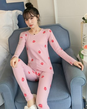 Student pajamas warmth underware 2pcs set for women