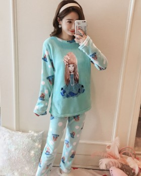 Coral velvet homewear long sleeve pajamas a set for women