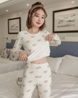 Moon pajamas tight warmth underware 2pcs set for women