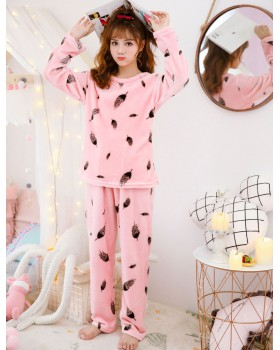 Autumn and winter flannel pajamas 2pcs set