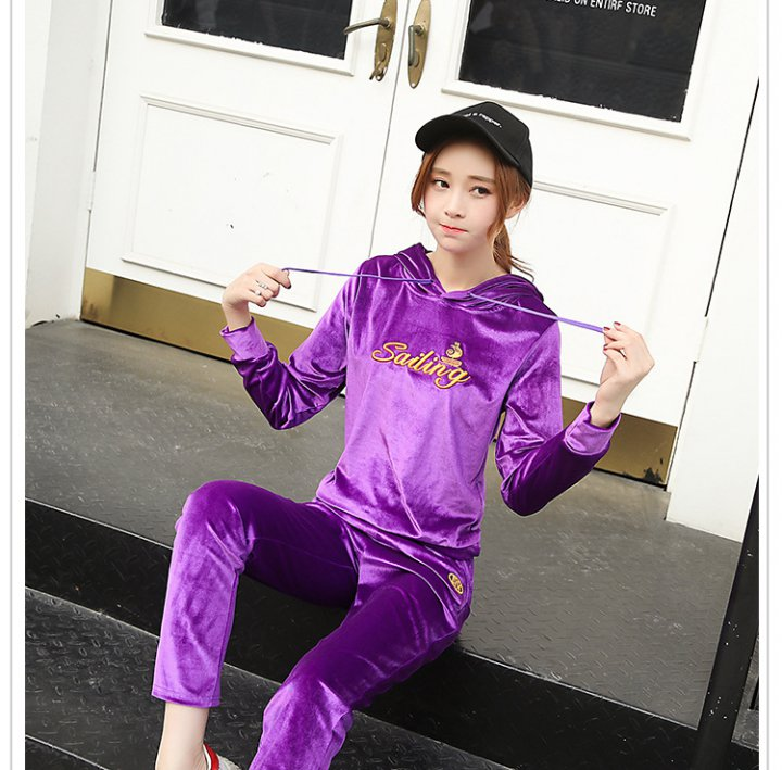 Flannel pajamas long pants 2pcs set for women