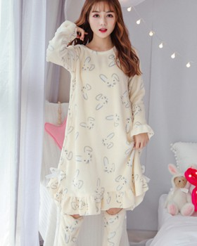 Sweet thick winter pajamas long lovely night dress