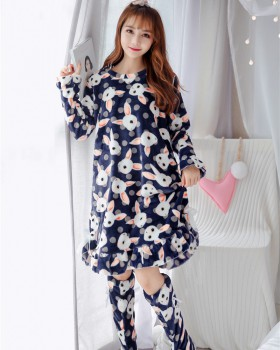 Lovely thick pajamas long night dress for women