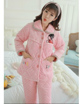 Long sleeve cardigan autumn and winter pajamas a set for women