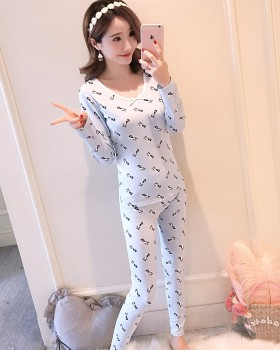 Tight warmth underware pajamas a set for women