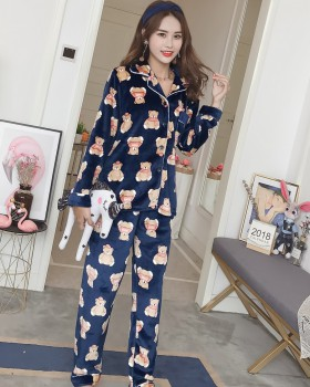 Long sleeve flannel pajamas 2pcs set for women