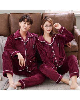 Couples long sleeve flannel pajamas a set for women