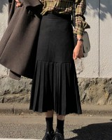 Slim crimp ghost maiden woolen Korean style high waist skirt