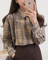 Simple plaid long sleeve Korean style shirt