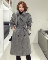 Slim temperament woolen overcoat long winter frenum coat