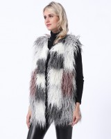 Faux fur splice waistcoat mixed colors vest