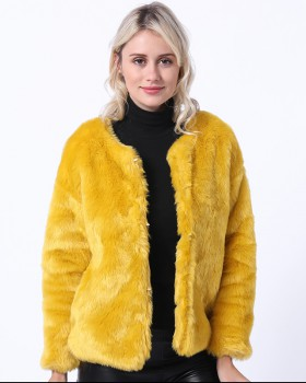 Rabbit fur autumn coat commuting jacket for women
