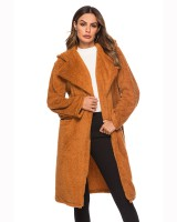 Long woolen pocket autumn and winter coat for women