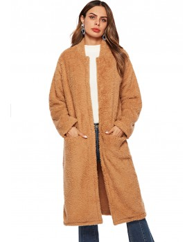 Brown overcoat plush coat