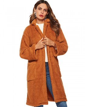 Woolen brown plush winter large pockets overcoat for women