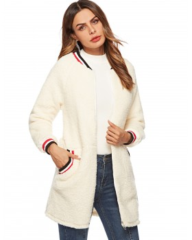 Autumn and winter heal coat rib round neck overcoat