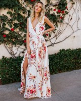 European style Bohemian style long dress split dress