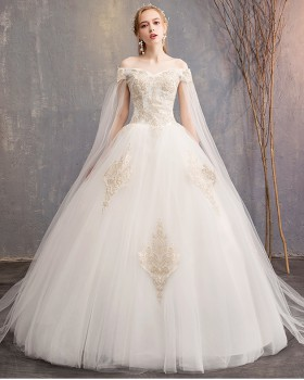 Large yard wedding dress flat shoulder formal dress