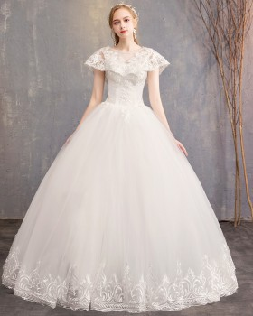 Slim fashion wedding dress bride round neck formal dress
