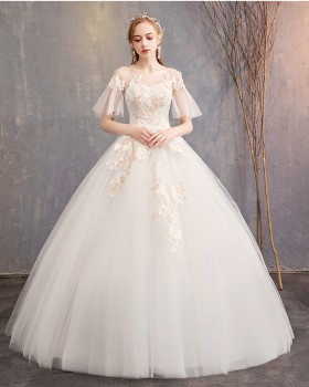 Bride light trumpet sleeves wedding dress for women