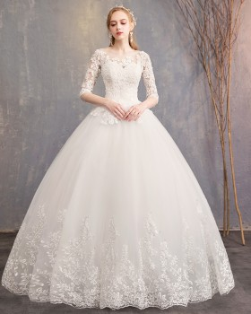 Autumn and winter short sleeve floor length wedding dress