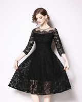 Slim hollow spring lace splice European style dress