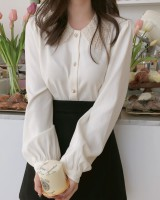 Lace collar maiden ghost long sleeve splice shirt