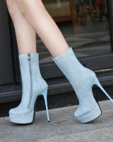 High-heeled European style large yard half Boots for women