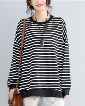 Stripe fat loose large yard enlarge hoodie