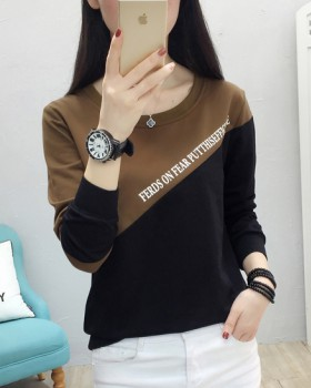 Spring slim letters tops fashion splice T-shirt for women