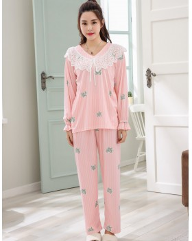 Milk silk spring homewear lace pajamas a set for women