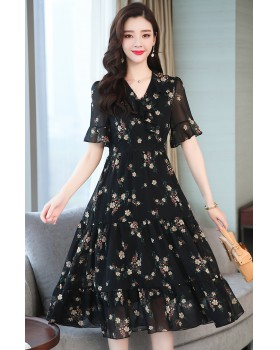 Slim doll collar dress temperament summer long dress
