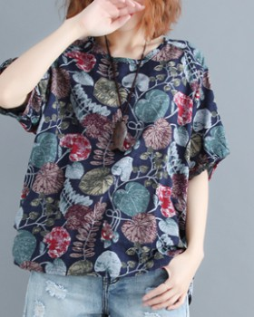 Cotton linen retro T-shirt printing large yard tops for women
