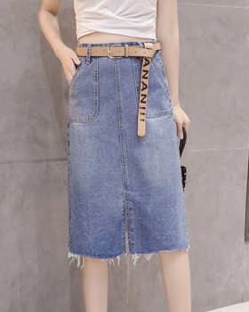 Split high waist one step skirt retro long skirt