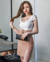 Halter splice mixed colors long slim fashion sexy dress