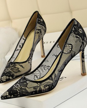 High-heeled lace slim shoes pointed mesh high-heeled shoes